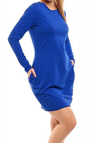 Damen Fleece Gefüttert Strick Tunika Tulpe Bodycon Kleid Langer Pullover Pullover Königsblau