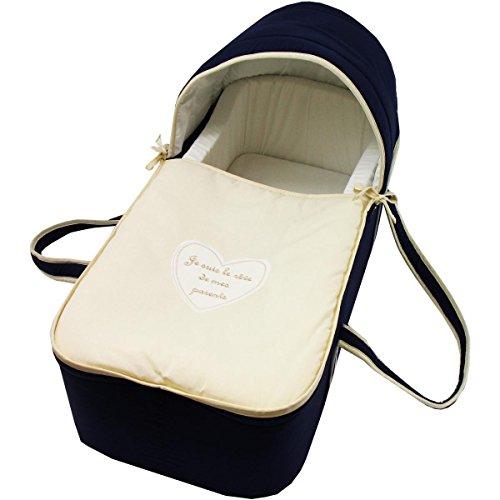 Couffin pour bébé bleu nuit et beige - Je suis le rêve de mes parents