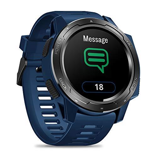HRRH Bluetooth Smart Watch, 50m wasserdichte Smart Watch Herzfrequenz Schlafmonitor Sport Armband für IOS Android,Blau