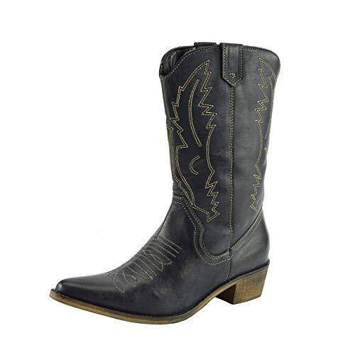 Damen Western Leder Cowboy Stiefel Spitz Zehen Damen Breite Kalb Stiefel - UK 8 / EU 41, Schwarz (Leder Schwarz Stiefel Damen Cowboy)