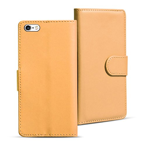 Conie Handyhülle für iPhone 6 Plus, 6S Plus - Bookstyle- Klapp- Serie, Etui aus PU Leder, iPhone 6s Plus Booklet Flip Hülle Creme