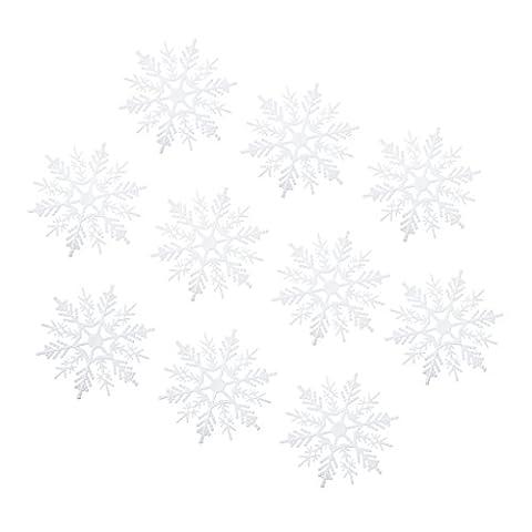 10pcs Hübsch Weiß Schneeflocke Kunststoff Weihnachtsbaum Schmuck Winter deko 7.5/10.5cm - 7.5cm,