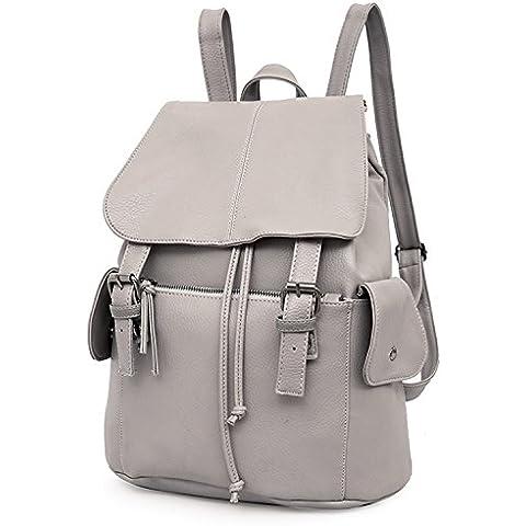 Outreo Mochilas Escolares Mujer Bolso Cuero Bolsos Mochila de Viaje bolsos de Piel para Colegio Vintage PU Casual