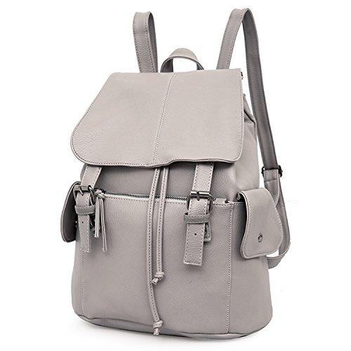 Outreo Rucksäcke Damen Schultertasche Leder Schulrucksack Vintage Rucksack Weekender Tasche Daypack PU Reiserucksack Backpack für Mädchen Schul Retro Taschen