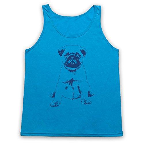 Pug Dog Cute Tank-Top Weste Neon Blau