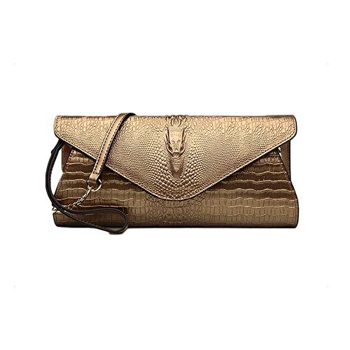 Sheli Womens Designer Unique Functonalities 6D Crocodile Head Leather Clutch Dress Party Daily Bag (Leder Bag Hobo Jessica)