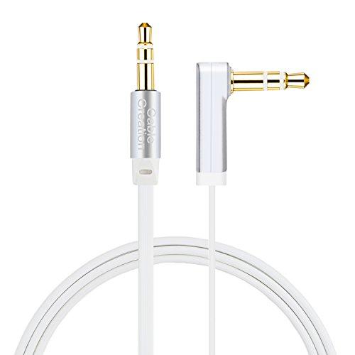 CableCreation, 1.5 FT 3.5mm Auxiliary Stereo Audio Kabel, 90 Grad rechtwinklige Flat Aux Karte für Kopfhörer, Apple iPod iPhone iPad, Home Car Stereos, Smartphones, MP3 Player, Lautsprecher