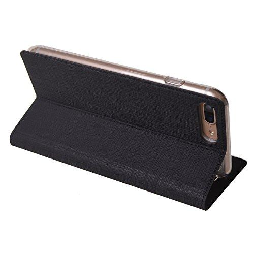 MEIRISHUN Apple iPhone 6/ 6s Case,Portafoglio PU Pelle Magnetico Stand Morbido Silicone Flip Bumper Protettivo Gomma Shell Borsa Custodie con Slot per Apple iPhone 6/ 6s - Nero Nero