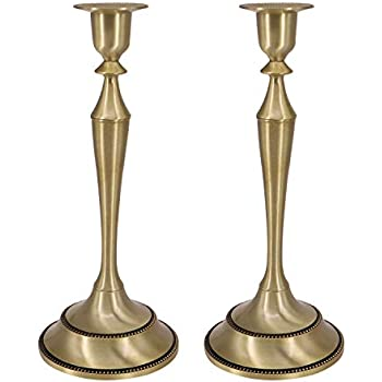QTKJ Set of 2 Brass Gold Metal Taper Candle Holders Dining Room Table Decoration Centerpiece Short Candlestick Stand for Dinner Wedding Home Ornaments