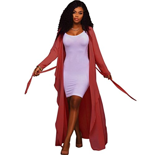 Ronamick Strickjacke Damen Cardigan Strickmantel Langarm Lang Einfarbig Lose Loose offene Casual Asymmetrisch Mantel Outwear Top Bluse (Rot, XL) (Asymmetrische Knopf)