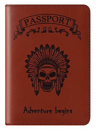 Fundas de Pasaporte Carteras para Pasaporte Los titulares Cubren la Billetera RFID bloqueando el Estuche de Tarjetas de Cuero Accesorios de Viaje para Hombres, Mujeres (Skull-Red Brown)