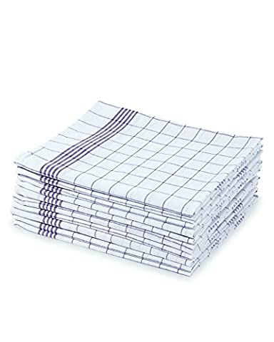 myHomery 10er-Set Geschirrtücher - Küchentücher 100% Baumwolle - Geschirrhandtücher für Küche & Gastronomie - Grubentuch 50x70 - Handtücher in blau weiß kariert - Design