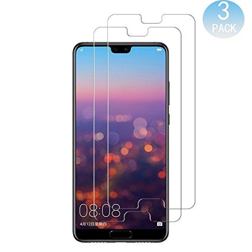 [3 PACK] Huawei P20 Schutzfolie, 9H Panzerglas Hartglas Glas Display Schutzfolie [Blasenfrei] [HD Ultra] [Anti-Kratzer] Displayschutzfolie Displayschutz Screen Protector Für Huawei P20 smartphone. (Transparent) (Display-bilder Mobile)