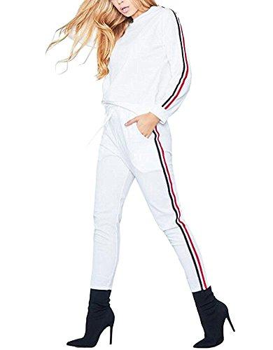 Damen Hausanzug Jogginganzug Trainingsanzüge Streetwear Langarm Rundhals Hoodie Sweatshirt ( Pullover+ Hose) Weiß EU M (Mit Velours-tunika Kapuze)