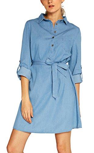 Damen Denim Kleid Lange Ärmel Shirt Dress (L, Hellblau)
