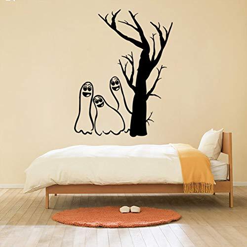 Schwarz geschnitzte Geister Baum Halloween Aufkleber Kreative Wanddekoration Geist 3D Wandaufkleber