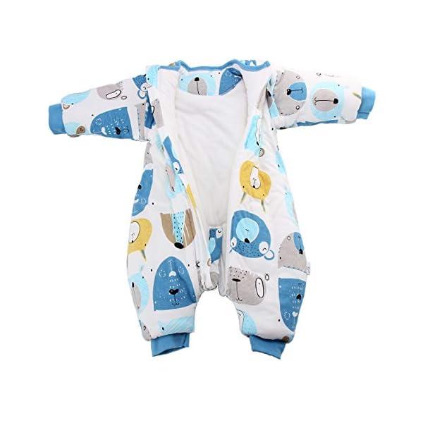 Saco de dormir para bebé con patas, con forro de invierno cálido, manga larga, saco de dormir de invierno con soporte 3…