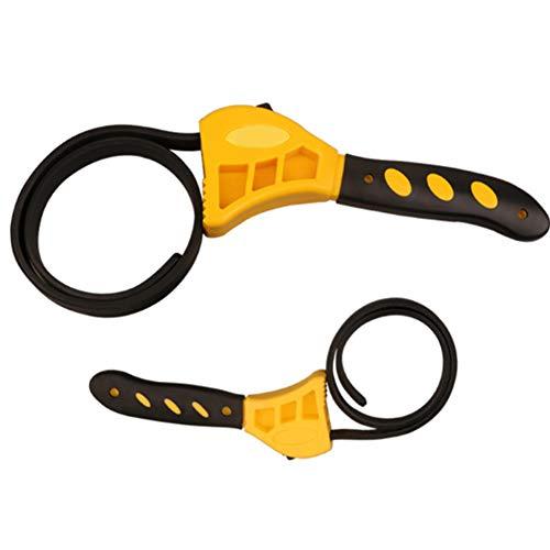 Chiave regolabile per cinghia in gomma, set di chiavi per filtri olio chiave, chiave per tubi apertura opener per chiavi di qualsiasi forma e strumenti di riparazione per auto (2 pezzi)