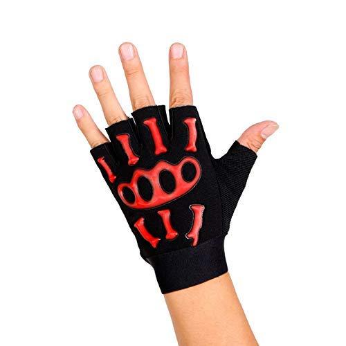 finger Atmungsaktiv Handschuhe Fahren Radsport Kühl Skelett Antirutsch Handschuhe Fingerlos - Rot ()