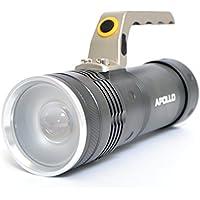 Apollo LED Linterna Torch Police 1200, Longitud de la linterna: 17cm, color antracita, batería y cargador incluidos.
