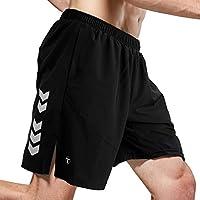 TOMSHOO Pantalones Cortos Deportivos para Hombre Shorts Running Secado Rápido Transpirable Suelto de Gran Tamaño Baloncesto Playa con Tres Bolsillos con Cremallera (Negro, L)