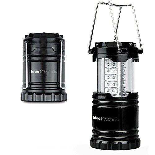 Preisvergleich Produktbild Ideal Products Camping-Lampe mit 32 LED-Lichter Ultra Hell (Schwarz und Klappbar). Effiziente und helle Beleuchtung 360°, lange Lebensdauer und Militäqualität. Spart Platz und Gewicht im Gepäck. Speziell für Notfälle.