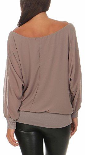 malito Damen Chiffon langarm Bluse | Tunika mit weiten Ärmeln | Blusenshirt mit breitem Bund | elegant �?schick 6291 Fango