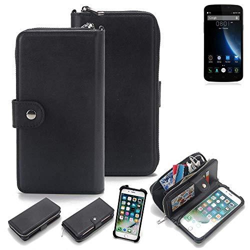 K-S-Trade 2in1 Handyhülle für Doogee X6S Schutzhülle & Portemonnee Schutzhülle Tasche Handytasche Case Etui Geldbörse Wallet Bookstyle Hülle schwarz (1x)