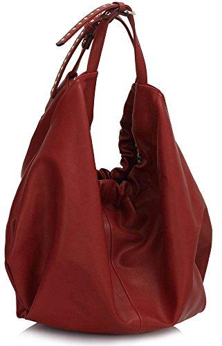 LeahWard® Damen Groß Hobo Handtaschen Damen Mode Essener Qualität Kunstleder SchulterTaschen CWS00458 (Burgundy) - Chloe Hobo