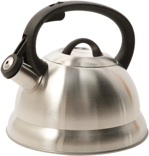 Mr. Coffee Flintshire Stainless Steel Whistling Tea Kettle, 1.75-Quart, Silver