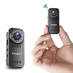 Idea Regalo - FREDI HD1080P WIFI telecamera Spia videocamera nascosta Mini Microcamera spia Videocamera di sorveglianza Interno IP telecamera di sorveglianza con Visione notturna/Rilevamento del movimento Spy Cam WIFI Camera spia Compatibile con iOS Android PC (l16)