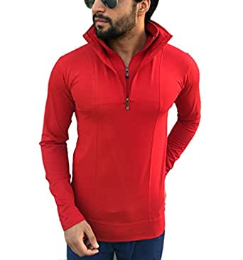 Tees Collection Men's Half Zip Double Flap Collar Full Sleeve Red Colour T-shirt (Small)
