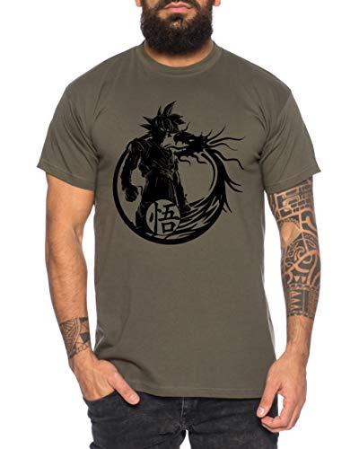 Tee Kiki Son Dragon - Herren T-Shirt Son Ruffy Luffy Naruto Saitama One Dragon Master Goku Ball Vegeta Turtle Roshi Piece Golds Db, L, Khaki