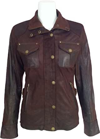 Ladies brown Real leather Jacket washed Antique look #F3 (10)