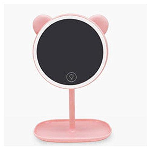 Omped Make-Up Spiegel, Lampe aufladbar Schreibtischlampe, Multifunktion Speicher, Kommode, Anrichte, klappbare Spiegel, hell-lila Kaninchen...