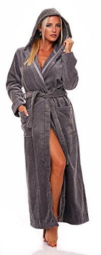 Damen Bademantel mit Kapuze, extra lang, S bis XL in 4 Farben Farbe 330 turkis, Grösse M Natur 155