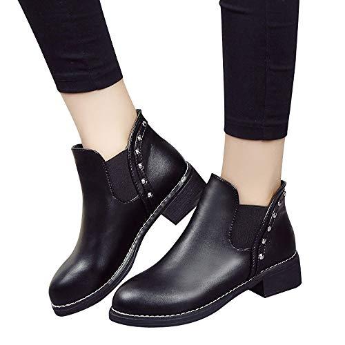 Stiefel Damen Martin Boots Freizeitschuhe Frauen Nieten Flache Schuhe Leder Boots Stiefeletten Round Toe Schuhe Freizeitschuhe ABsoar