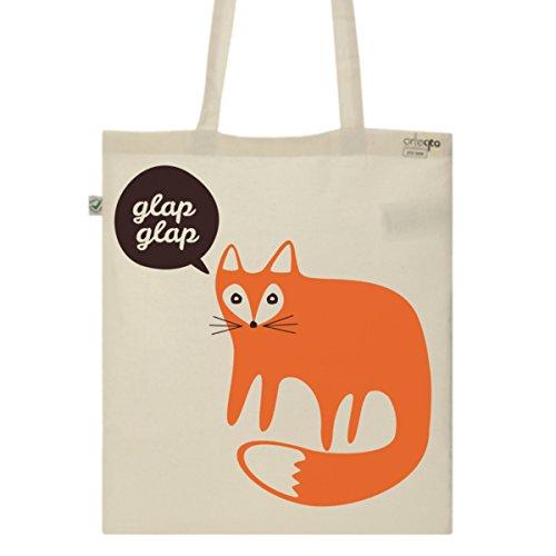 Tote Bag Imprimé Ecru - Toile en coton bio - Renard Glap Glap
