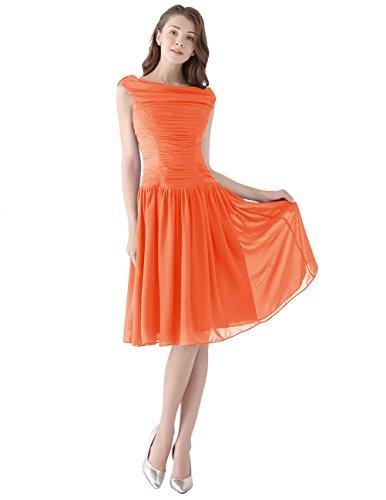 Dresstells, Robe courte de demoiselle d'honneur Robe de soirée de cocktail plissée vintage style année 50 en mousseline Orange