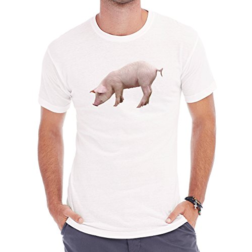 Pig Animal Farm Hog Real Standing Left Herren T-Shirt Weiß
