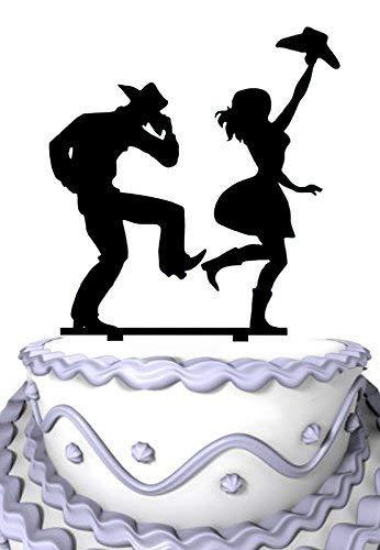 Acryl-Dekoration Cowgirl und Cowboy tanzend Hochzeit Jahrestag
