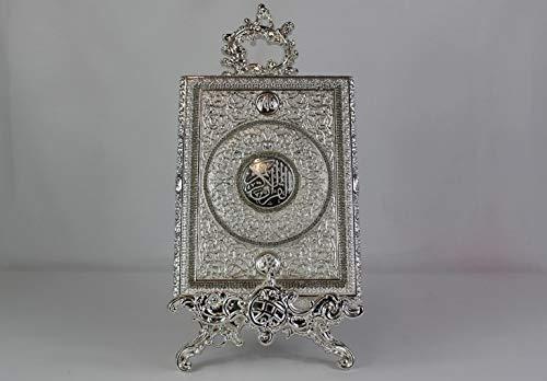 Koran Box S in Silberton mit Kristall Diamanten + Aufsteller, Tolles Geschenk zur Hochzeit, Dekoration (Koran-Buch Nicht im Lieferumfang Enthalten)