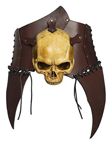 Rüstung Ork Kostüm - Andracor - handgearbeiteter diabolischer Rüstgürtel aus echtem Leder mit Totenschädel für Untote, Orks und weitere Finsterlinge - LARP; Fantasy, Cosplay - Braun