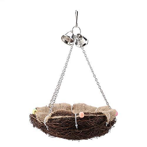 Sheens Vogelnest, Papagei Rattannest mit Glocken hängenden Schaukel Vogelkäfig Zubehör für Kakadu Amazon afrikanischen Grau Wellensittich Sittich Lovebird Finch (Vogel Für Käfige Grau Afrikanischen)