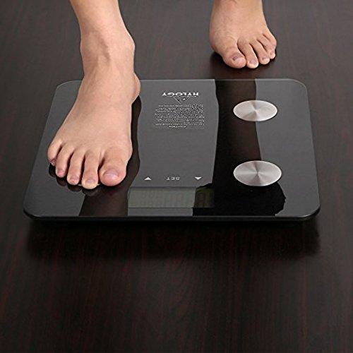 Báscula de Grasa Corporal Digital HYLOGY Báscula de Análisis Corporal Tecnología de Reconocimiento Automático Medida de Peso Grasa de Cuerpo Hueso Agua Corporal Masa Muscular BMI y BMR