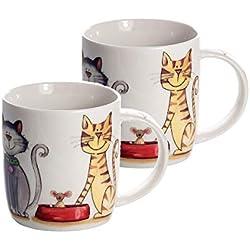 Juego de 2 Tazas Porcelana Grandes Cafe Desayuno Originales de café té, Color Blanco con Decoración de Gatos apto para lavavajillas y microondas, Regalo para los Amantes de los Animales de Gato