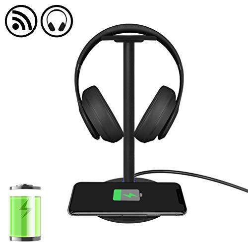 Fast Wireless Charger mit Kopfhörer Ständer Shumeifang 2 in 1,3 Modle Wireless Charging Pad mit Game Headset Ständer für Das iPhone, Samsung - Schwarz-Fast wirelss Charge Wireless Pad