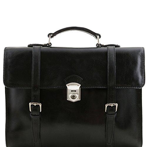 Tuscany Leather Viareggio - Exklusive Laptop Aktentsche aus Leder mit 3 Fächer Dunkelbraun Lederaktentaschen Schwarz