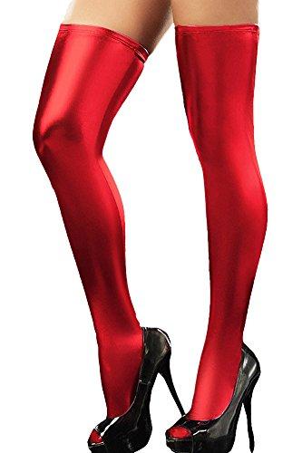 Queenshiny® Frauen im Wet-Look Strümpfe (Rot)