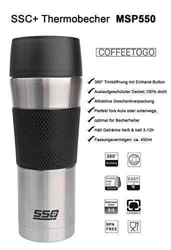 SSC+ Thermobecher Isolierbecher Travel Mug Becher, 450ml Isobecher Kaffeebecher Reisebecher Edelstahl, Coffee to go Eis Kaffee Tee, mobiler cup Trinkbecher Deckel auslaufsicher mit press Verschluss